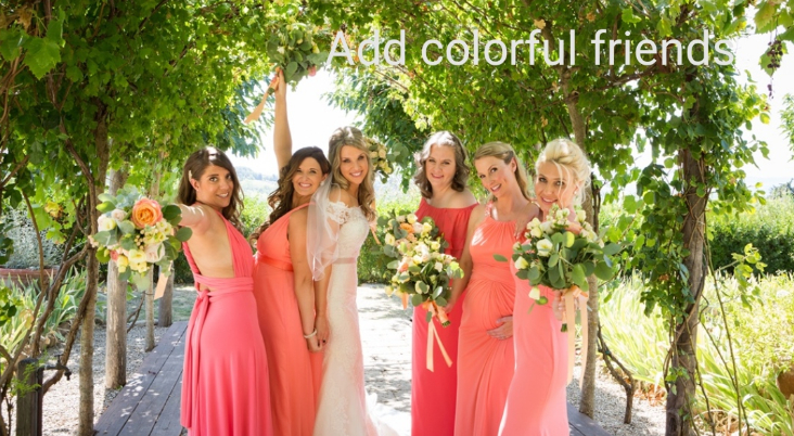 Colorful bridesmaids in peach for summer destination wedding in Tuscany